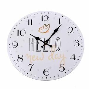 Nástenné hodiny Hello new day, pr. 34 cm