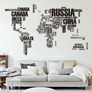 Samolepiaca dekorácia Mapa sveta z písmen