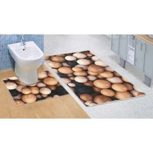 Bellatex Kúpeľňová predložka Drevené gule 3D, 60 x 100 + 60 x 50 cm
