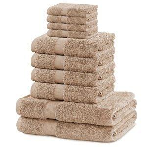 DecoKing Sada uterákov a osušiek Marina béžová, 4 ks 30 x 50 cm, 4 ks 50 x 100 cm