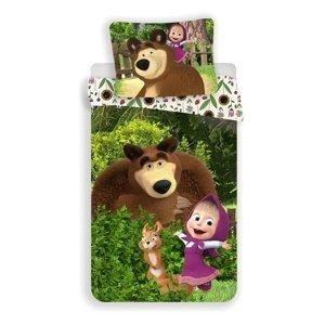 Jerry Fabrics Detské bavlnené obliečky Máša a Medveď Flowers, 140 x 200 cm, 70 x 90 cm