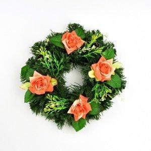 Dušičkový veniec s oranžovými ružami, 25 cm
