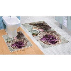 Bellatex Sada kúpeľňových predložiek Levanduľa 3D, 60 x 100 cm, 50 x 60 cm