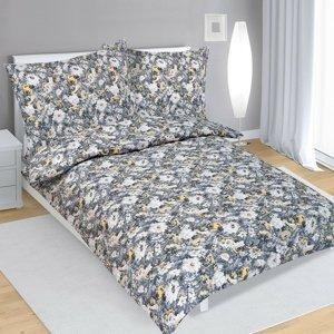 Bellatex Krepové obliečky Dahlia sivá, 140 x 220 cm, 70 x 90 cm
