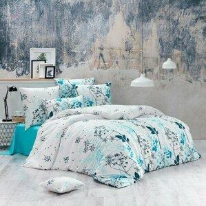 BedTex Bavlnené obliečky Blommor tyrkysová, 140 x 200 cm, 70 x 90 cm