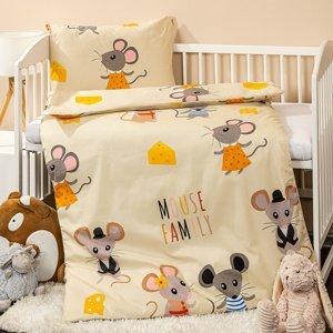 4home Detské bavlnené obliečky do postieľky Little mouse, 100 x 135 cm, 40 x 60 cm
