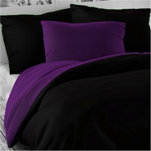 Kvalitex Saténové obliečky Luxury Collection čierna / tmavo fialová, 220 x 200 cm, 2 ks 70 x 90 cm