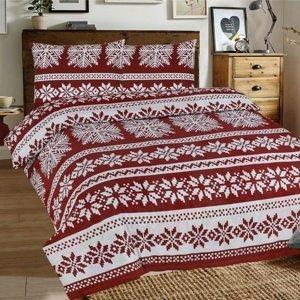 Kvalitex Vianočné flanelové obliečky Vločky bordó, 140 x 220 cm, 70 x 90 cm