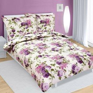 Bellatex Krepové obliečky Ruže lila, 140 x 220 cm, 70 x 90 cm
