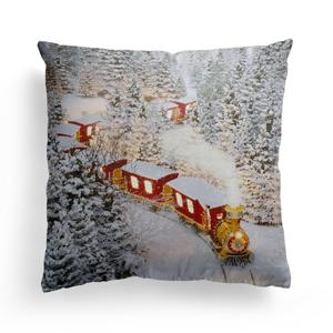 Domarex Vianočný svietiaci vankúšik s LED svetielkami Christmas Train, 45 x 45 cm