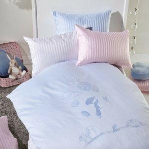 Stella Ateliers Detské damaškové obliečky do postieľky Oskar Abenteuer ružová, 100 x 135 cm, 40 x 60 cm