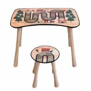 Detský stolík so stoličkou Dráha, 65 x 41 x 47 cm