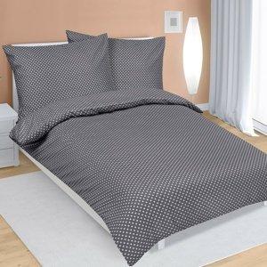 Bellatex Saténové obliečky Bodky sivá, 140 x 200 cm, 70 x 90 cm