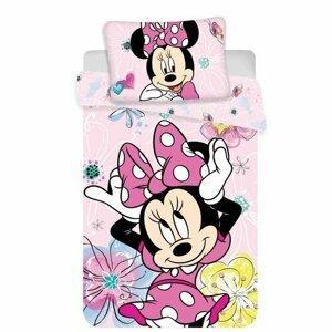 Jerry Fabrics Detské bavlnené obliečky do postieľky Minnie butterfly 02 baby, 100 x 135 cm, 40 x 60 cm