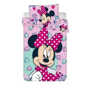 Jerry Fabrics Detské bavlnené obliečky do postieľky Minnie pink 02 baby, 100 x 135 cm, 40 x 60 cm