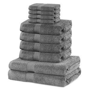 DecoKing Sada uterákov a osušiek Marina strieborná, 4 ks 30 x 50 cm, 4 ks 50 x 100 cm