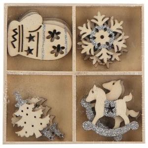 Altom Sada drevených vianočných ozdôb Mix 4, 16 ks, sivá