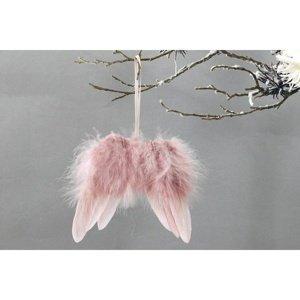 Sada vianočných ozdôb Anjelské krídla 12 ks, ružová