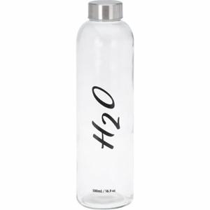Sklenená fľaša na vodu H2O, 500 ml