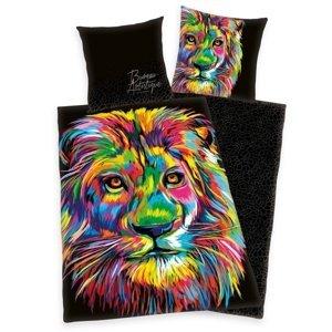 Herding Saténové obliečky Bureau Artistique - Colored Lion, 140 x 200 cm, 70 x 90 cm
