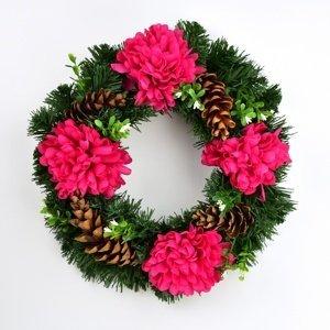 Dušičkový veniec s chryzantémami 30 cm, červená