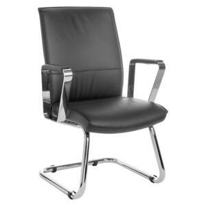 konferenčná stolička Verona Z kože Čierna