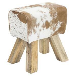 Taburetka Hocker Pravá Koža/drevo