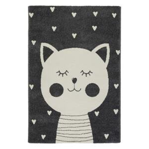 Detský koberec Cat 1, 80/150cm, Antracitová
