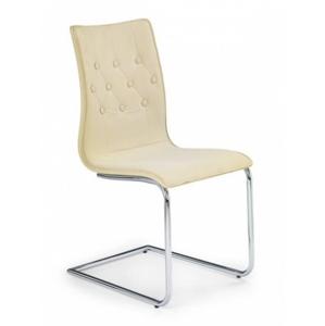 Jedálenská stolička K149 (bežová,chróm.ocel/ekokoža) - II. akosť