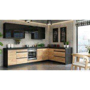 Rohová kuchyňa Brick pravý roh 300x182 cm (čierna lesklá/craft)