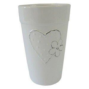 Keramická váza VK42 biela zo srdiečkom a kytičkou (21 cm)