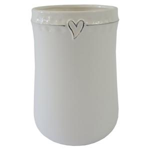 Keramická váza VK44 biela zo srdiečkom (23 cm)