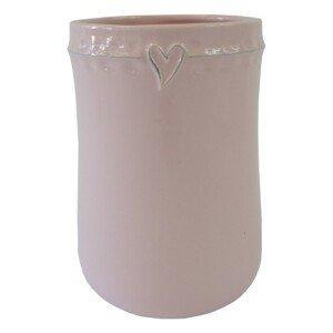 Keramická váza VK47 ružová zo srdiečkom (17 cm)