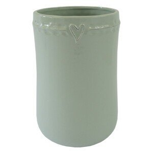 Keramická váza VK48 mätová zo srdiečkom (23 cm)
