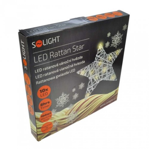 Ratanová vianočná hviezda Solight 1V41, 10xLED, biela