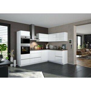 Rohová kuchyňa Eugenie ľavý roh 260x180cm (biela vysoký lesk)