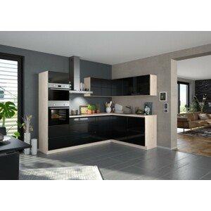 Rohová kuchyňa Eugenie ľavý roh 260x180cm (čierna vysoký lesk)