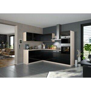Rohová kuchyňa Eugenie pravý roh 260x180cm (čierna vysoký lesk)
