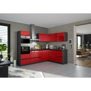 Rohová kuchyňa Eugenie ľavý roh 260x180cm (červená vysoký lesk)
