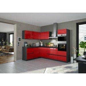 Rohová kuchyňa Eugenie pravý roh 260x180cm (červená vysoký lesk)