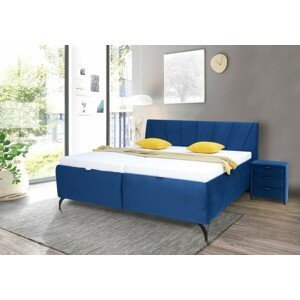 Čalúnená posteľ Franz 180x200, modrá, vrátane matracov, roštu, ÚP