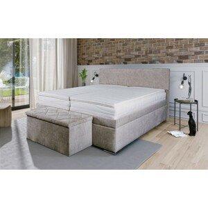 Čalúnená posteľ Rory 180x200, šedá, vrátane matracov - II.akosť