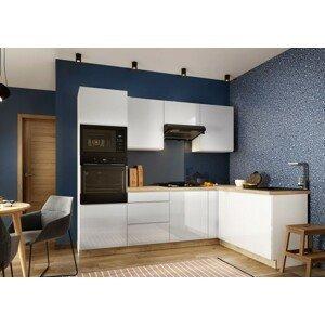 Rohová kuchyňa Lisse pravý roh 255x170 cm (biela lesklá)-II.akosť