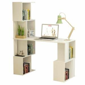 PC stôl s regálom, biela, FLOKI NEW