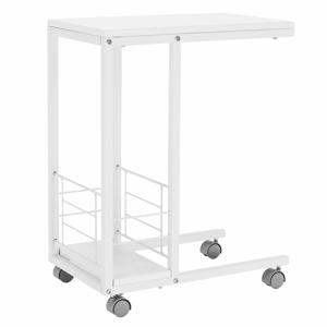 Príručný stolík na kolieskach, biela, CARMEL