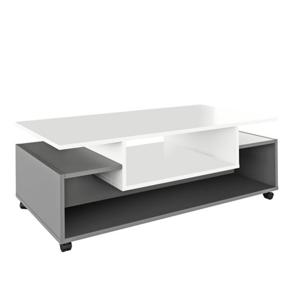 Konferenčný stolík na kolieskach, biela/grafit, DALEN
