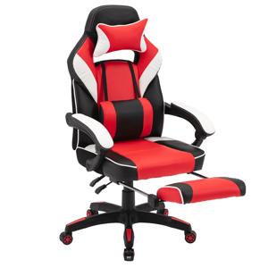 Kancelárske/herné kreslo, čierna/biela/červená, OZGE