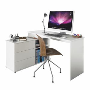 Univerzálny rohový PC stôl, biela, TERINO