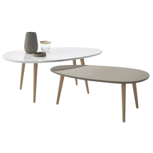 Set 2 konferenčných stolíkov, biela/sivá, DOBLO