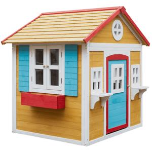 Drevený záhradný domček s kvetináčom, prírodná/biela/modrá/červená, AVILO